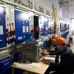 The setting up of new high voltage cells in the Central distribution point of the plant