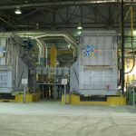 The melting and casting furnaces of non-ferrous metals production section of Ferroalloy shop